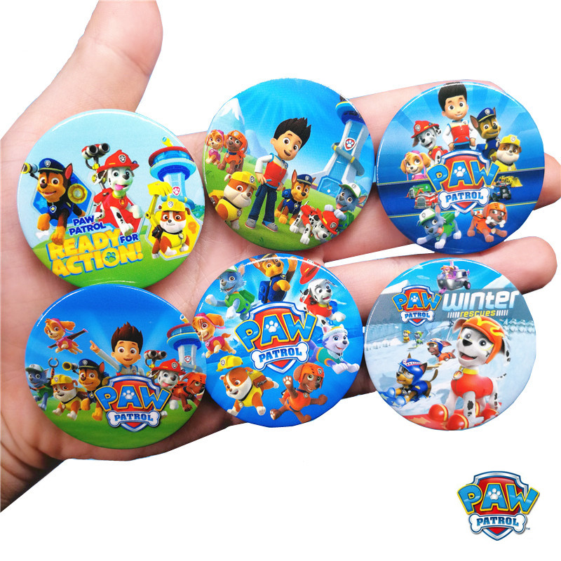 Paw Patrol Toy Badge Patrol Rescue Sign Cartoon Small Badges Wrought Lron Badge Tinplate Birthday Party Toys For Children Gift