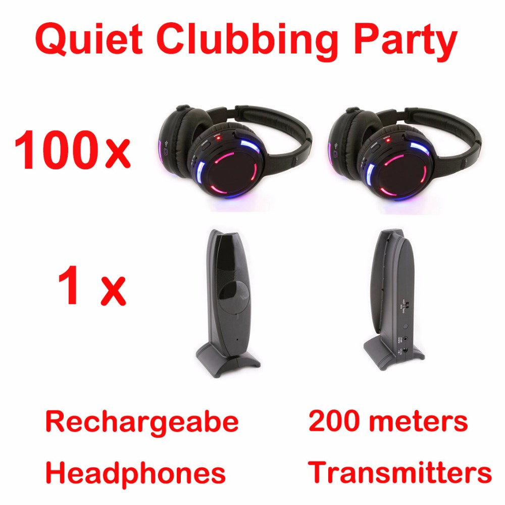 Silent Disco complete system black led wireless headphones - Quiet Clubbing Party Bundle (100 Headphones + 1 Transmitters)