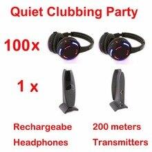 Silent Disco complete system black led wireless headphones – Quiet Clubbing Party Bundle (100 Headphones + 1 Transmitters)