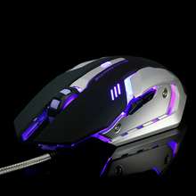 Wired V8 Silent USB Ergonomic 3200DPI Optical Game Gaming Mouse For PC Laptop Computer LED Backlit Metal Plate Gamer Mouse Mice