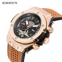KIMSDUN 男性の自動機械式時計ファッションカジュアル高級クラシックトゥールビヨンスポーツウォッチトレンドシリコーンストラップゴールド腕時計レロジオ