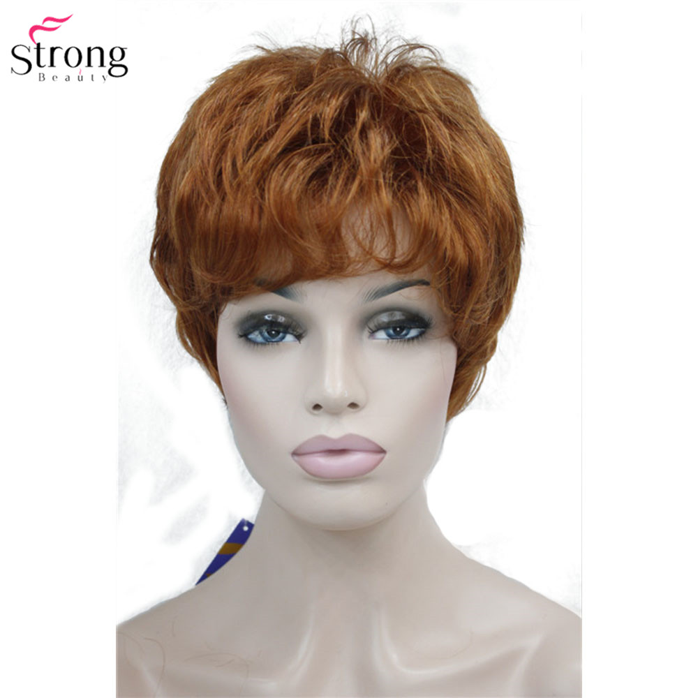 Image 3 - StrongBeauty Women's Wig Short Straight Pixie Cut Natural Hai Synthetic Capless Wig Gray/Red-in Synthetic None-Lace  Wigs from Hair Extensions & Wigs