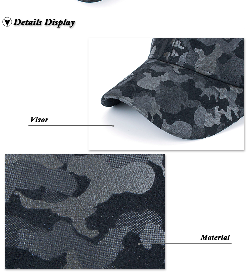 Faux Leather Camo Baseball Cap - Brim and Fabric Detail Views