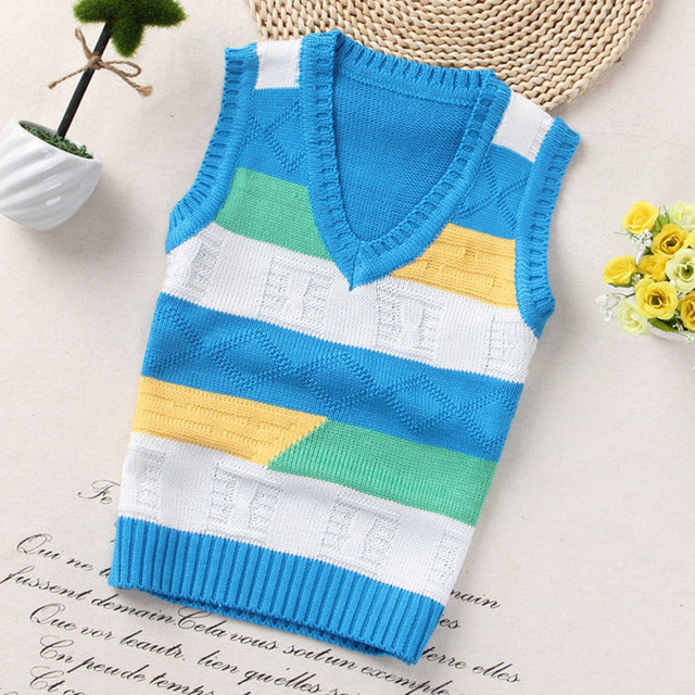 e916ec56 Girls Fashion style Kids boys pullover knitted vest coat Boys Crochet  Cotton vest Children top quality sleeveless sweaters