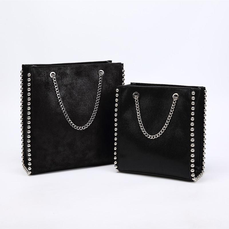 Retro Large Capacity Handbags Women Fashion Chain Rivet Messenger Bag Lady Commuting Pu Leather Purses Bags Solid Color Bag Bead