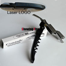 24pcs/lot Can Be Lasered Client's LOGO Coutale Wine Corkscrew Mini Pocket Bottle Opener Sommelier Double Points D'appui Lever