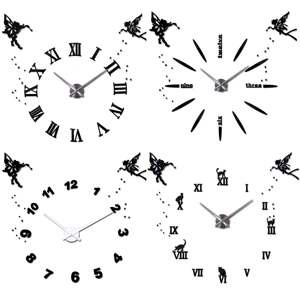 25''-40'' Large Wall Clock DIY 3D Angel Digital Clocks Modern Quartz Self adhesive Wall Sticker Clock for Living Room