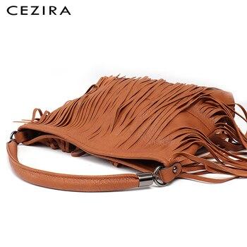 CEZIRA العلامة التجارية الأزياء الهبي هامش شرابة صغيرة النساء النباتي جلدية حقيبة السيدات بوهو الأفاق جولة حقيبة كتف حقيبة الإناث جديد