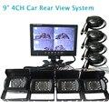 """Envío gratis 12 V - 24 V 9 """" Quad dividir coche marcha atrás del Monitor 4 canales de vídeo ver + 4 a prueba de agua la cámara de visión trasera en Stock"""