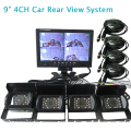 "FREE SHIPPING 12V - 24V 9"" Quad Split Car Reversing Monitor 4 Channel Video View + 4 Waterproof Backup Rear View Camera In Stock"