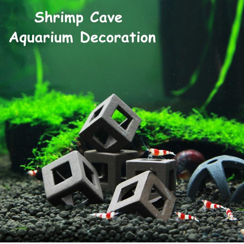 5pcs Fish Tank Ornament Ceramic Crafts Landscaping Ceramic House Shelter For Small Shrimp And Fishes Aquarium Decorations