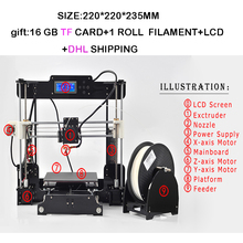Actualizado Alta Precisión de Alta Calidad DIY 3d kit de Impresora Reprap Prusa i3 con 1 Rollo de Filamento + LCD + 16 GB tarjeta TF + DHL Shipning