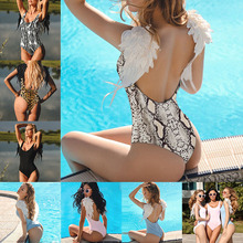 One Piece Swimsuit Sexy Push Up Bathing Suit Wear Female solid color angel wings one-piece swimsuit bikini
