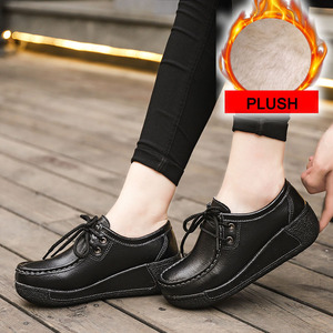 Image 4 - Winter Women Shoes Genuine Leather with Fur Shoes Woman Moccasins Flats Casual Cotton Warm Shoes Women Platform Loafers WSH3353