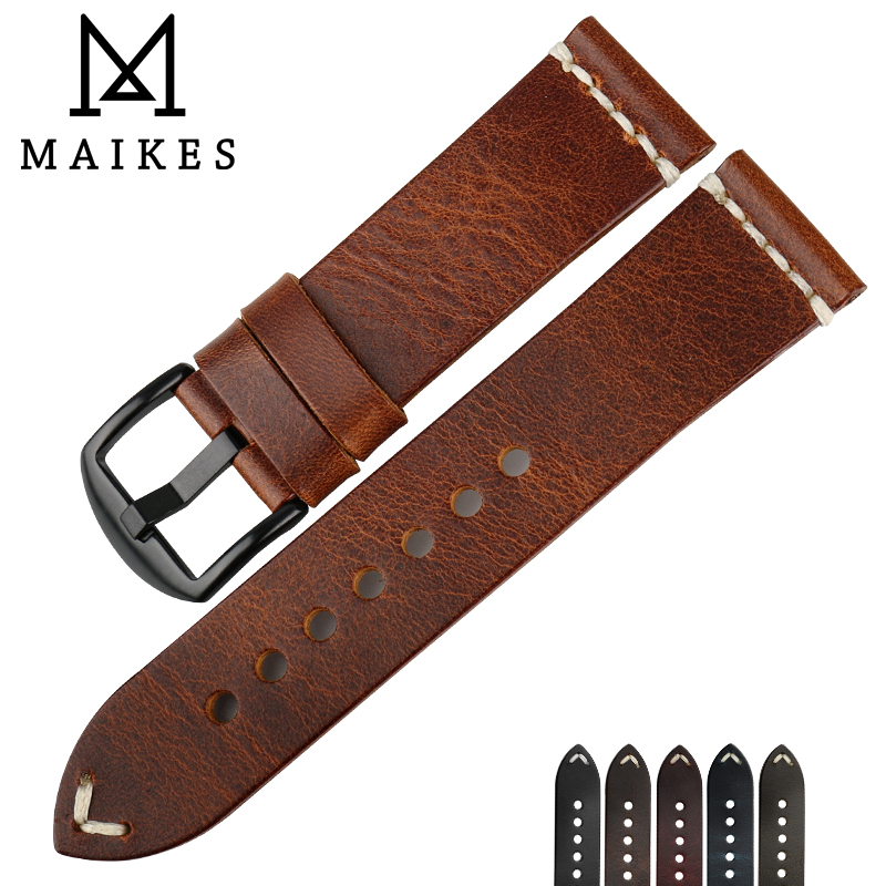 MAIKES 2018 New Arrival Watch Accessories 6 Color Watchbands 22 24 mm Vintage Genuine Leather Watch Strap Bracelets Watch Band