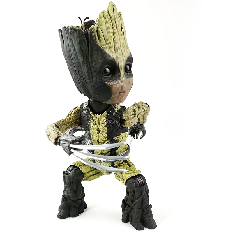 Marvel Avengers Endgame Galaxy Guardians Baby Tree Man Groots Cosplay Wolverine Logan PVC Model X Man Action Figures