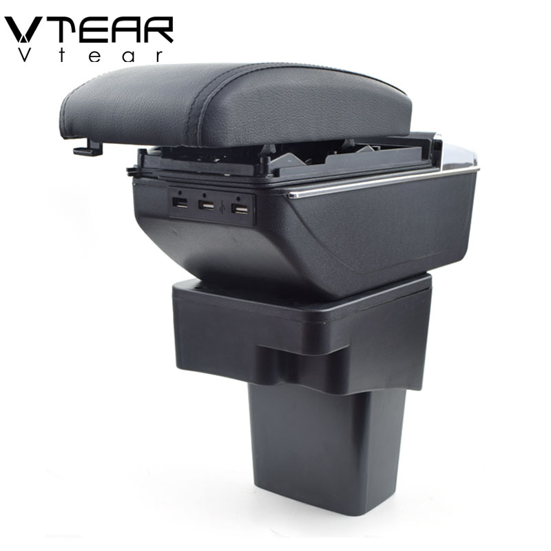 Vtear Per Hyundai Solaris accento bracciolo box di Ricarica USB intensificare Doppio strato centrale di contenuti Negozio di supporto di tazza accessori