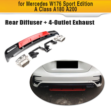 W176 Car Rear Bumper Diffuser Lip Spoiler With Exhaust For Mercedes Benz Hatchback 4 Door 13-18 A45 AMG A180 A200 ABS