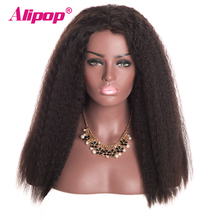 [ALIPOP] Kinky Straight Brazilian Lace Front Human Hair Wigs With Baby Hair 8″-24″ Pre Plucked None remy Hair Wig Free Shipping