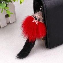 Yisoso 1 pc Cute Rabbit Fur Mice Mouse Phone Key Chain Keychain with Plush Car Key Ring Holder Handbag Bag Decoration YS026