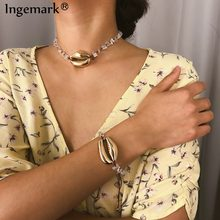 Ingemark Bohemian Hot Big Shell Necklace Bracelet Set Summer Jewelry Statement Fashion Cowrie Natural Stone Long Chain Necklace(China)