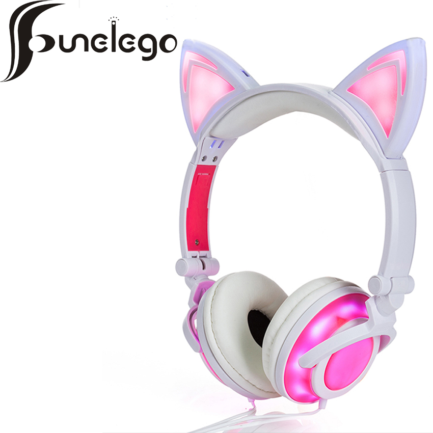 Funelego The New Cat Ear headphones With Flashing Glowing  LED Light  Earphone for PC Laptop Computer Cell phone Gaming Headset foldable cat ear headphones gaming headset earphone with glowing led light for phone computer best halloween gift for girls kids