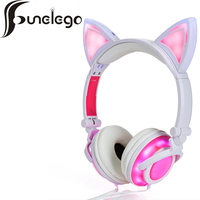 Funelego The New Cat Ear headphones With Flashing Glowing LED Light Earphone for PC Laptop Computer Cell phone Gaming Headset