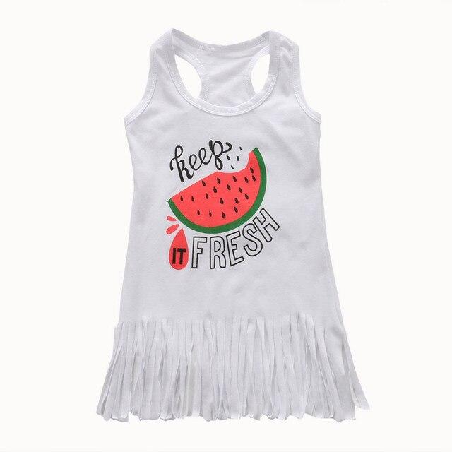 0b5753b0b Baby Girl Verão Borla Mini Vestido Branco E Luz Verde Melancia Impressão Em  Linha Reta Sem