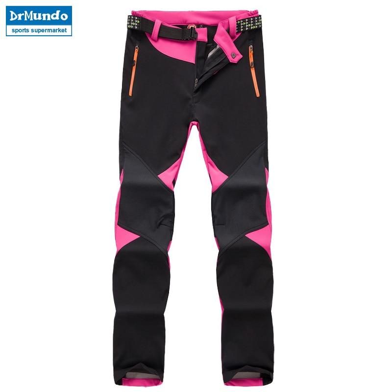 Outdoor Winter ski pants women solft shell pants plus size waterproof snow pants thicken fleece hiking pant snowboard trousers