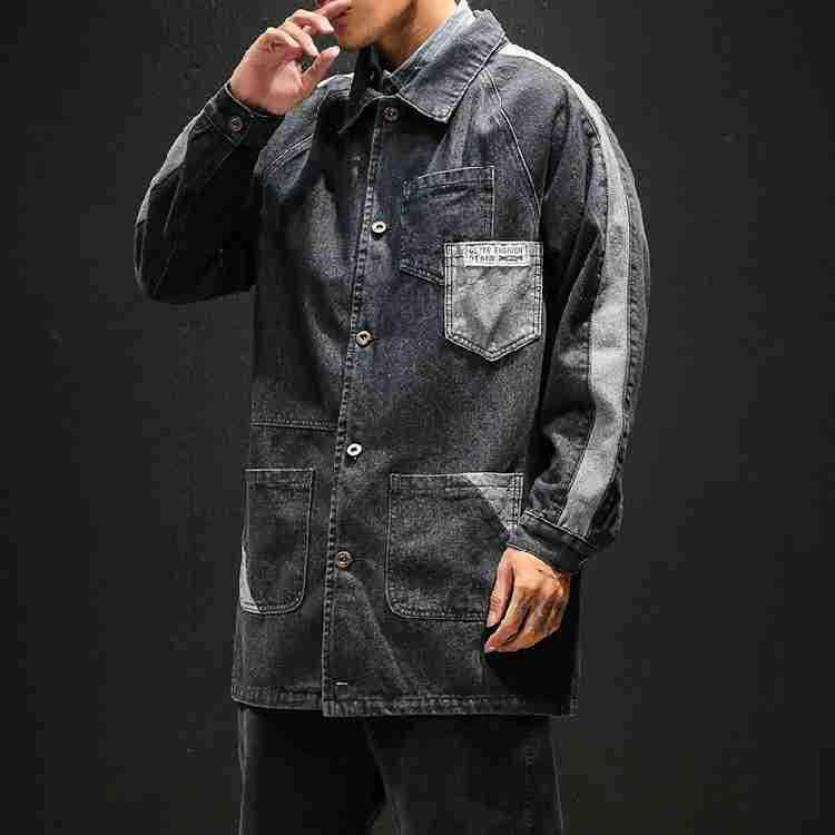 Palangre poche Patchwork Vintage corvée manteau hommes Demin veste en détresse Jean hauts - 3