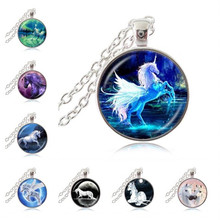 Moonlight Unicorn Photo Necklace Horse with Wings Jewelry Glass Cabochon Pendant Chain Neckless Women Fashion Jewelry HZ1