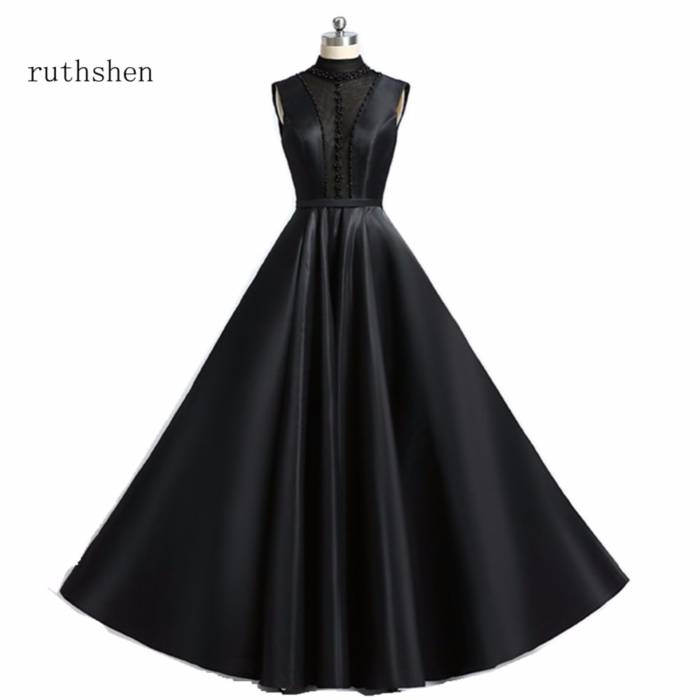 ruthshen Reflective   Dress   Black   Evening     Dresses   Long High Neck Beaded Vestido Noche Women Gowns Prom   Dresses   Robes De Soiree