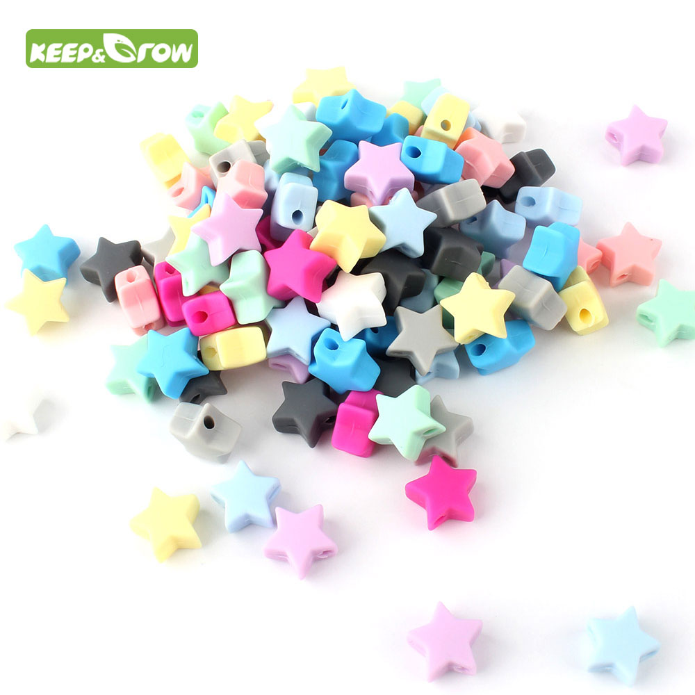 KEEP&GROW 14mm 10pc  Stars Silicone Beads Food Grade Silicone Baby Products Chews Pacifier Chain Beads Baby Teether Teething Toy