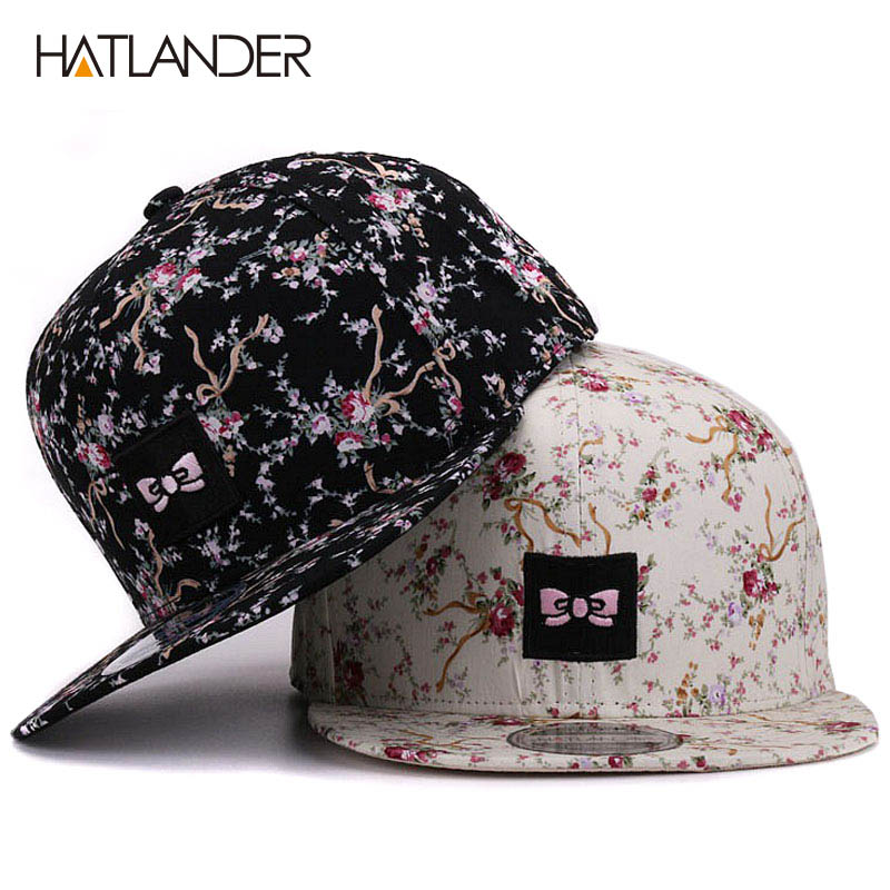 [HATLANDER]Brand embroidery bowknot   baseball     caps   for women outdoor sun hats feminino floral hip hop casquette snapback   cap   hat