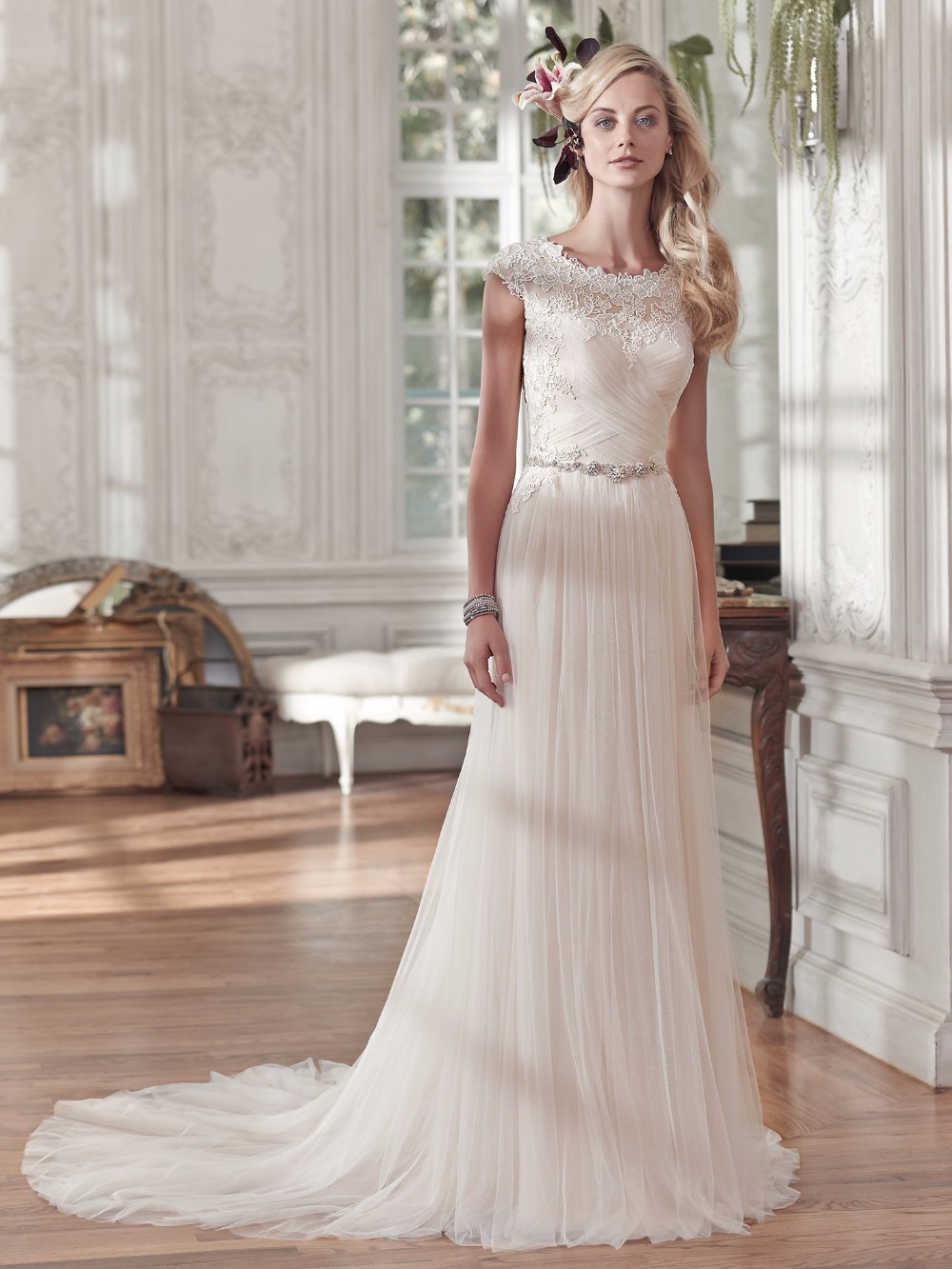 US $135.27 8% OFF|Modest Tulle Beach Boho Wedding Dresses Cap Sleeves Lace  Appliques Ruched Country Western Wedding Gowns 2019 Plus Size Cheap-in ...