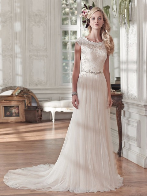 Us 132 33 10 Off Modest Tulle Beach Boho Wedding Dresses Cap Sleeves Lace Appliques Ruched Country Western Wedding Gowns 2019 Plus Size Cheap In