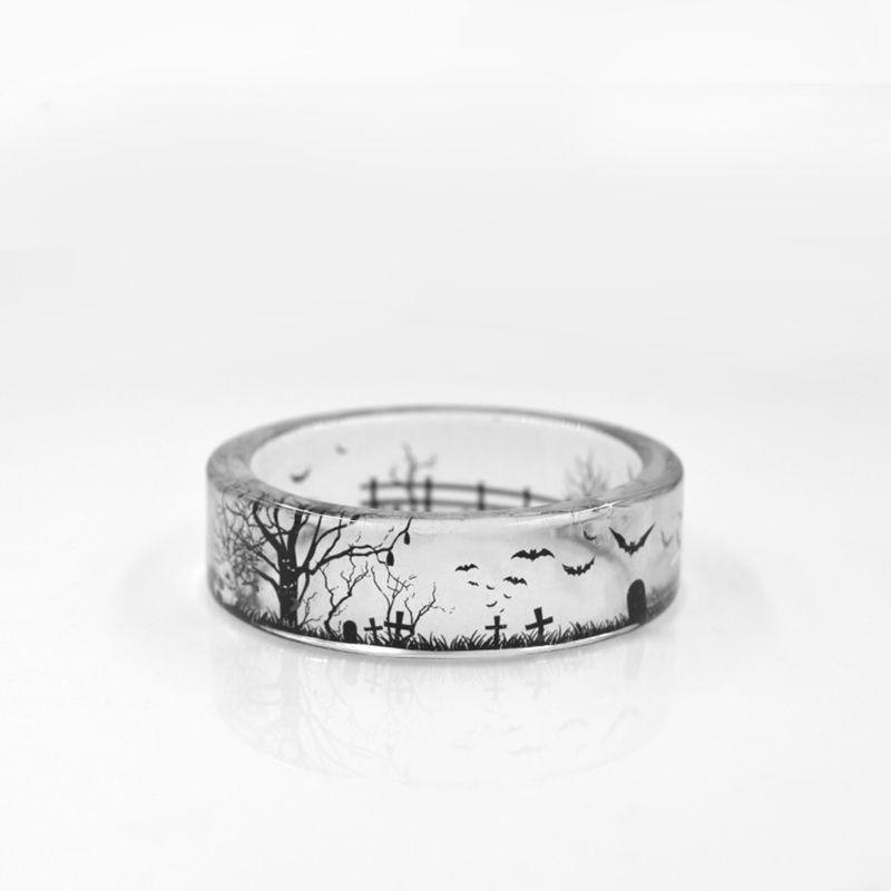 Mode Handmade Transparent Bat und Bäume Harz Ringe Landschaft Innen Schwarz und Weiß Frauen Finger-knöchel-ring BS-0015N