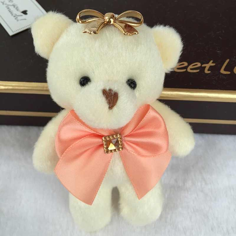 Untuk Natal Hadiah Permen Busur Beruang Mainan Mewah Satin Kartun Buket Mewah Boneka Beruang Pernikahan Anak Mainan Ponsel Kunci Liontin