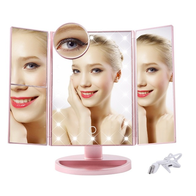 Led Lighted Vanity Mirror Make Up Tri-Fold with 22 Lights 180 Degree Free Rotation Table Countertop Cosmetic mirror
