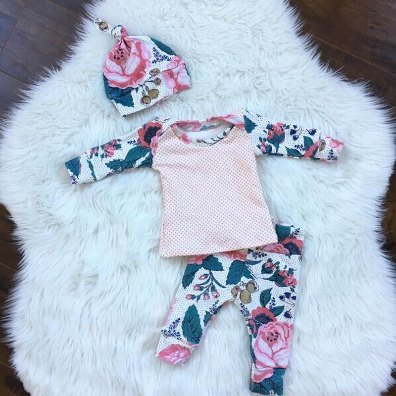 Baby girl clothes 3pcs suits 2017 Autumn Long sleeve Tops+Flower Leggings+ Hat 3pcs suit Newborn infant baby girl clothing sets 2017 autumn halloween pumpkin baby clothes newborn infant boy girl long sleeve romper tops leggings pants hat outfit 2pcs