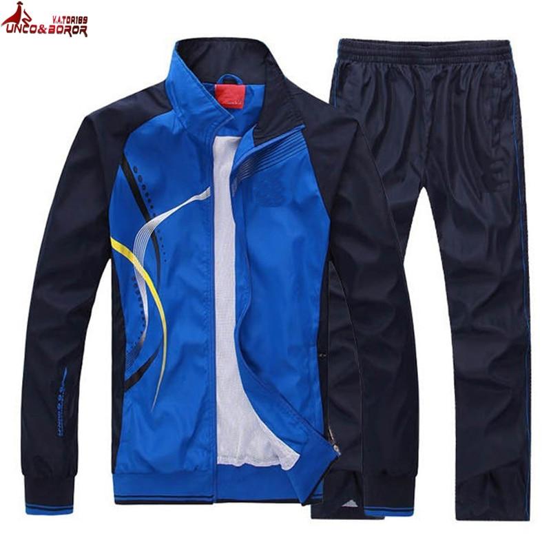 UNCO y BOROR los hombres y las mujeres traje de ropa deportiva de otoño primavera chaqueta hombres chándal prendas de marca-ropa hombre sportsuit de sudaderas con capucha + pantalón