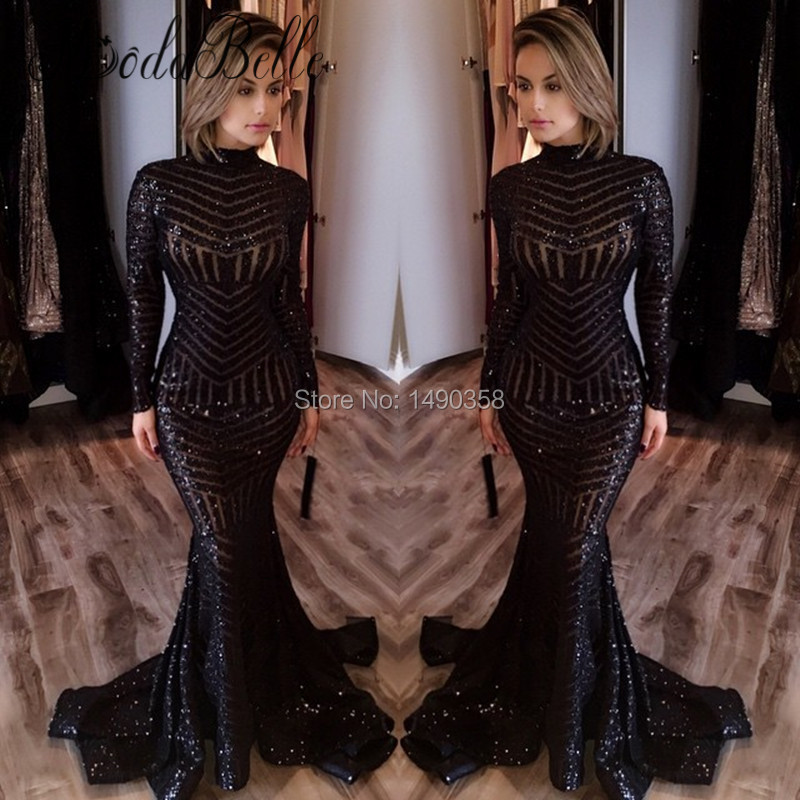 Buy Cheap Unique Long Sleeve Glitter Black Mermaid Sequin Prom Dress 2017 Sparkly Special Evening Party Gowns Vestido Formatura