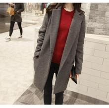 Winter Korean Style Loose Large Size Women's Coat Suit Collar Single-breasted Solid Thick Wool Outwear Jaqueta de Feminina E47