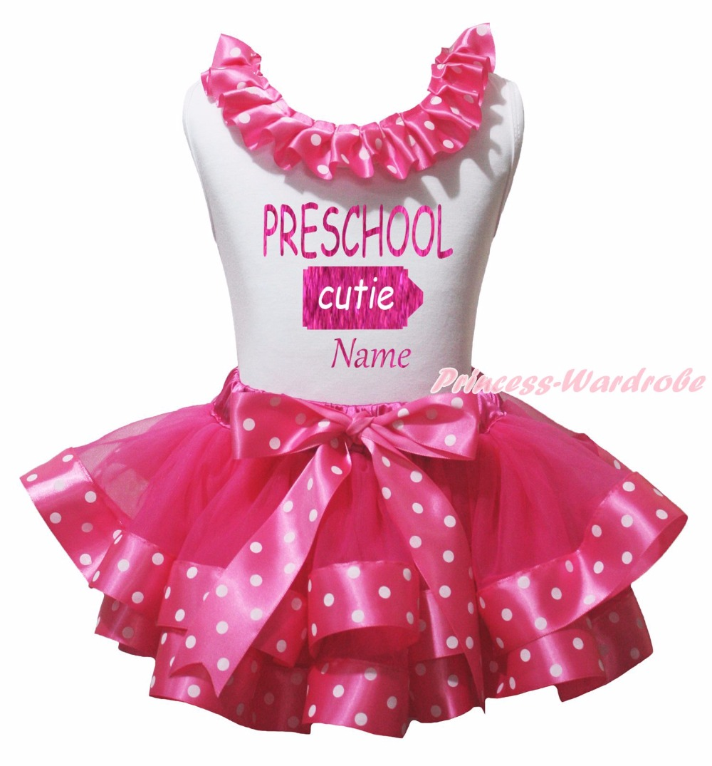 Personalize PRESCHOOL CUTIE White Top Hot Pink Dot Satin Trim Girls Skirt NB-8Y rhinestone happy easter white top shirt hot pink bunny rabbit satin trim baby girl skirt set 1 8y mapsa0494