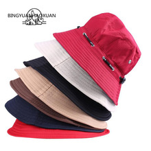BINGYUANHAOXUAN 2017 Summer Women Hat Unisex Flat Cotton Bucket Hat For Men Women Travel Sun Hat Female Male Fisherman Cap Black chic rose and leaf pattern flat top black bucket hat for women