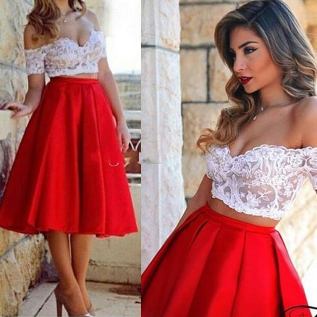 0dbb1c18512c Sexy Off-the-Shoulder Red Satin Two Piece Prom Dresses White Lace Short  Sleeves Tea Length Party Cocktail Gowns Custom