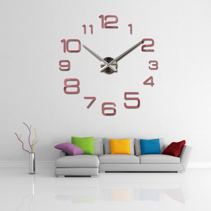 2017 hot sale wall clock reloj de pared acrylic mirror for Stickers 3d pared