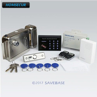 HOMSECUR DIY RFID Access Control System Kit+ Electronic Lock+ 2Remote Controls+ Doorbell