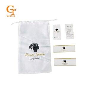 Роскошные натуральные пучки волос, упаковка для наращивания, белые атласные мешки, упаковка, наклейки, этикетки, упаковочные наклейки