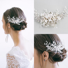 Fashion Silver Pearls Hair Jewelry Handmade Crystal Hair Combs Wedding Bridal Accessories Luxury Hair Ornaments For Women Party(China)